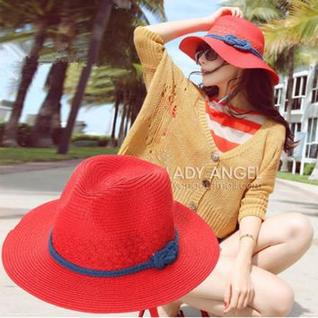 New Arrival Anti-UV Sun Hats Beach Floppy Hat For Womens Kentucky Derby Straw Hat Summer 2016 Panama Bucket Hats Fashionable