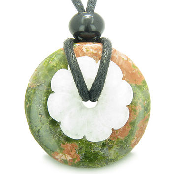 Amulet Donut Flower Unakite and White Quartz Healing Powers Pendant Necklace