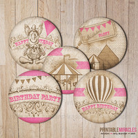 Circus pink vintage printable birthday party Carnival decoration INSTANT DOWNLOAD Stickers Cupcake toppers DIY Retro Clown kids girls