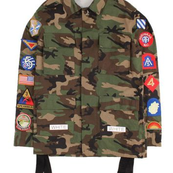 hcxx Off-White Army Green Camo White Twill Badgets Coat