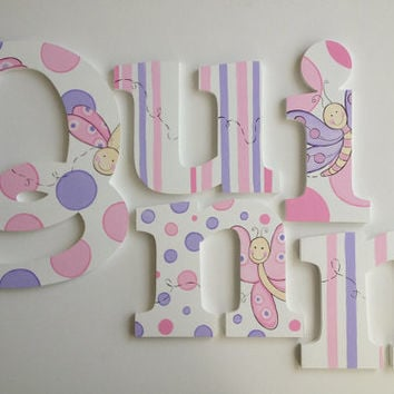Dragonfly Wooden Wall Name Letters / Hangings, Hand Painted for Girls Rooms, Play Rooms and Nursery Rooms