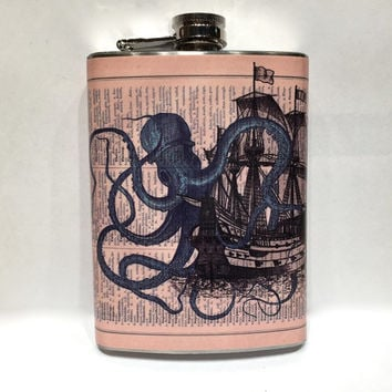 Kraken Vintage Attack Pirate Ship Stainless Steel 8oz Hip Flask Nautical Sea Creature Octopus Brown