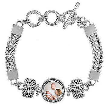Photo Link Bracelet with Interchangeable Magnetic Photo Charm. Personalized Gift. Mothers Gift.
