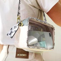 LV tide brand female transparent camera bag shoulder bag Messenger bag