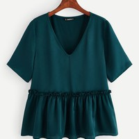 V-neck Frill Trim Solid Top