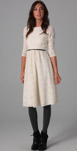 Tibi Boat Neck Embroidered Dress