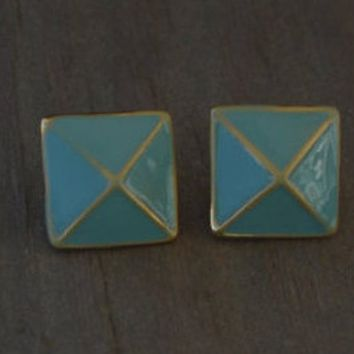 Painted Stud Earrings - Enameled Spike Silver Gold Peach Black T acbe4238171e