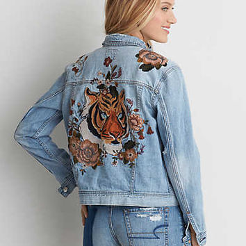 AEO Embroidered Tiger Denim Jacket , Medium Wash
