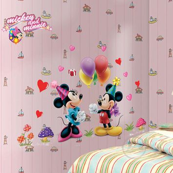 Mickey Mouse Minnie Mouse Wall Sticker Home Decor Cartoon Wall Decal DIY for Kids Room Decal Baby Vinyl Mural Nursery AY602