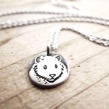 Tiny Hamster necklace, silver hamster jewelry, pet memorial necklace, remembrance jewelry, hamster pendant