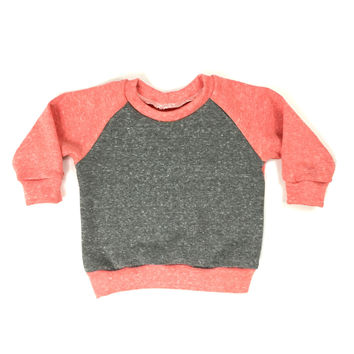FRENCH TERRY COLORBLOCK RAGLAN - CORAL