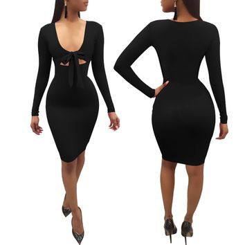 Black Bodycon Dress with Bow