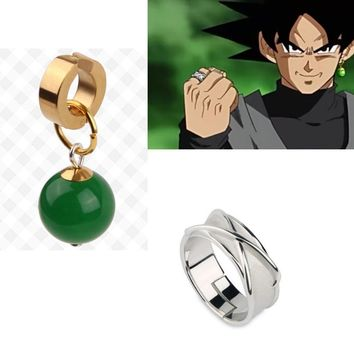 High Quality 925 Silver Dragonball Super Dragon Ball Black Son Goku Zamasu Supreme Kai Time Ring