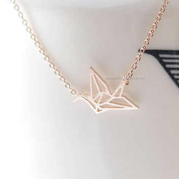Rose Gold origami Crane Necklace, Crane necklace in Rose gold, necklace for women, Gift for her / girlfriend gift / bridesmaids gift