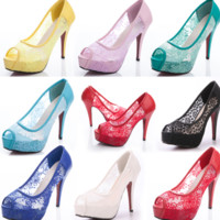 FASHION CUTE HIGH HEEL LACE SHOES