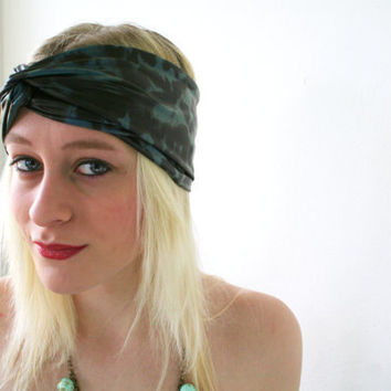 Faux leather headband green teal / black animal print by Bartinki