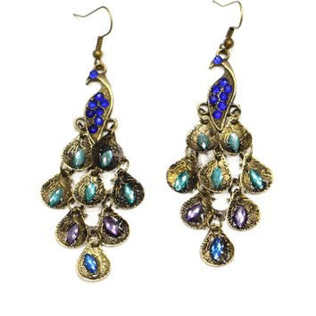 Peacock Crystal Earrings Dangling EC17 Art Deco Chainmail Statement Fashion Jewelry