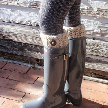 Leg Warmers Hunter Boot Warmers Chunky Oatmeal Crochet Boot Cuffs Socks Boot Toppers Gift for Her , Teen, Women Fall Apparel, Winter Fashion