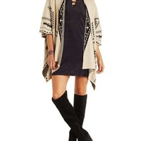 Taupe Combo Aztec Blanket Cardigan Sweater by Charlotte Russe