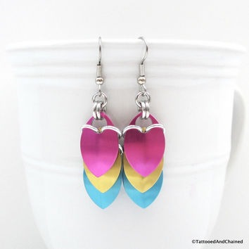 Pansexual pride earrings, chainmaille scales earrings