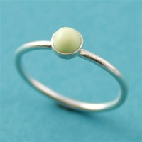 Lemon Chrysoprase Stacking Ring - Spiffing Jewelry