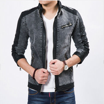 Stitched jacket men's denim