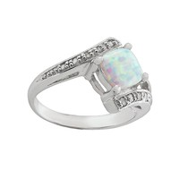 Sterling Silver Lab-Created Opal & Diamond Accent Bypass Ring