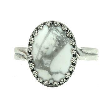 Howlite Ring 05 - White Gray Oval Stone Adjustable Metal