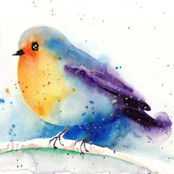 Art Photo Print After My Original Watercolor Painting - Robin in Winter Snow - Museum Quality