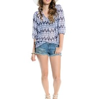 Navy/White Chiffon Ikat Waves Blouse | $10.00 | Cheap Trendy Blouses Chic Discount Fashion for Wome