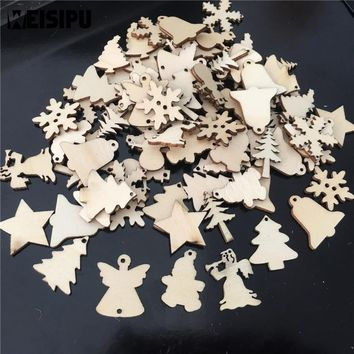 Christmas Decorations For Home 50Pcs/Lot Natural Wood Christmas Ornaments Reindeer Tree Snowflake Bell 3.8cm Navidad