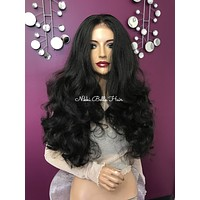 Dark brown lace front wig| Realistic 5 x 4 parting | 180% density super full hair| #11838* Wonderful Waves