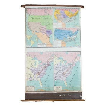 Vintage Pull Down Map United States