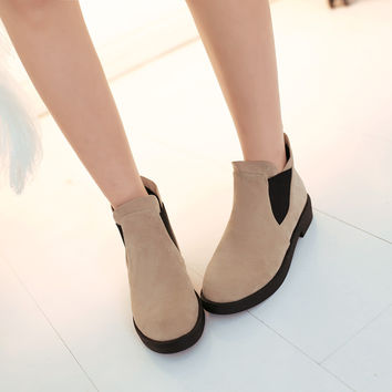 Round Toe Ankle Boots Women Flats Shoes Fall|Winter