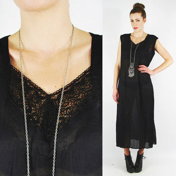 vtg 90s grunge goth gypsy boho black SHEER crochet EMBROIDERED LACE yoke bib slouchy draped slip maxi dress S M L
