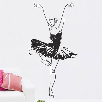 How to draw Wall Decal Vinyl Sticker Art Decor Design ballet studio pointe dance music scene beautifully salon image ballerina theater (i65)