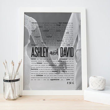 Framed Wedding Vows 1st Anniversary Gift with wedding vows or first dance song lyrics photo design art print