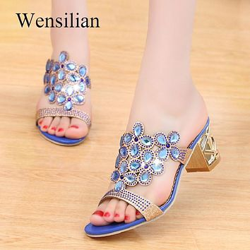 Designer Sandals Women Ladies Slides Women Slippers Sandals Summer Crystal Shoes Peep Toe Middle Heels Zapatos Mujer