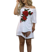 Floral Embroidery T-Shirt Sexy Women's Tee Shirt Plus Size Sm-2XL