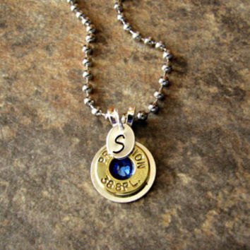 Personalized Birthstone Bullet Necklace- 38 Special- Ammo Necklace- Bullet Jewelry- Friendship Necklace- Eco Friendly- Upcycled- Stamped