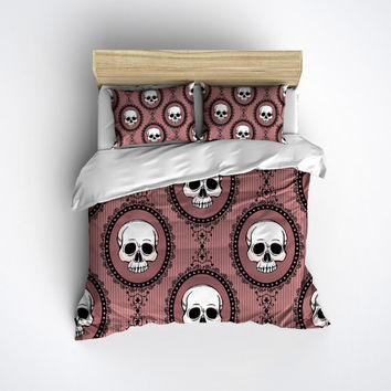 Fleece Edwardian Skull Bedding -  Pink Skull Print Comforter Cover - Sugar Skull Duvet Cover, Sugar Skull Bedding Set