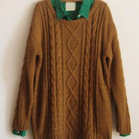 Round Neck Loose Brown Sweater$41.00