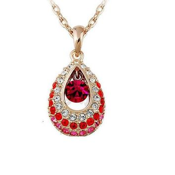 Fashion Crystal Water Drop Rhinestone Pendants Necklaces