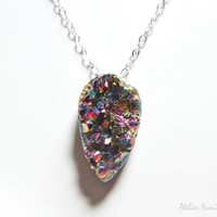 Sparkle Aura Druzy Necklace , Rainbow Druzy, Raw edgy rock jewelry, Cosmic Galaxy,  summer colors