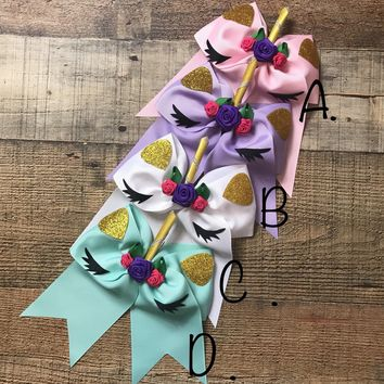 "RESTOCKED! RTS 6"" UNICORN PONYTAIL HAIR BOWS"