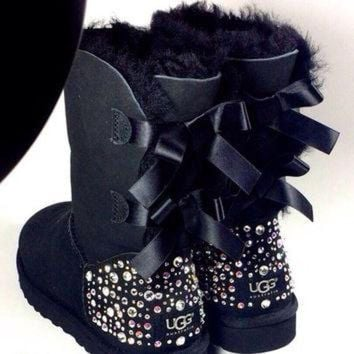 CUPUPS EXCLUSIVE - Swarovski Crystal Embellished Bailey Bow Uggs in Sparkly Night (TM) - Blac