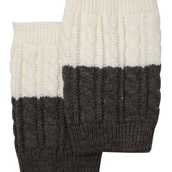 Women's Two Tone Ivory / Grey REVERSIBLE BOOT CUFF - Cable Knit Boot Sock Topper, Knitted Boot Cuffs
