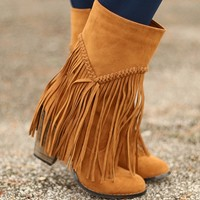 Fringe Fanatic Boots in Tan