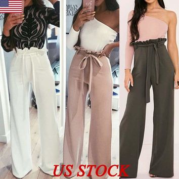 Women Lady Palazzo Plain Flared Wide Leg Pants High Waist Legging Baggy Trousers