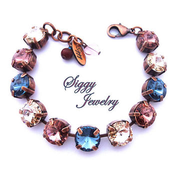 Swarovski Crystal Bracelet, 11mm (47ss) Rivoli, Denim Blue, Blush Pink, Silk, Large Chunky Crystals, Select A Finish, Out-N-About
